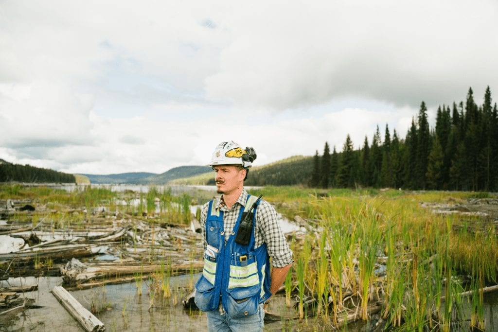 Environmental Remediation Definition and Techniques A man in a hard hat and vest standing on the edge of a bog, with a forest in the background.