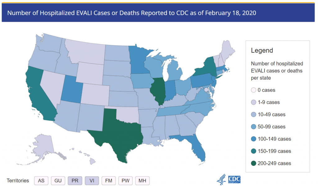 Map of EVLAI cases 2011 to 2018